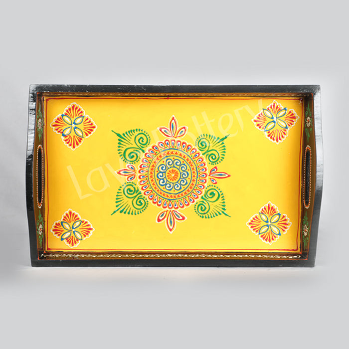 Hand crafted Wooden serving Tray Yellow