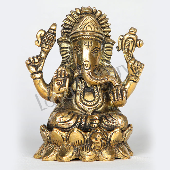 "Brass Ganesha sitting on blossomed lotus Kamal 4"" Tall"