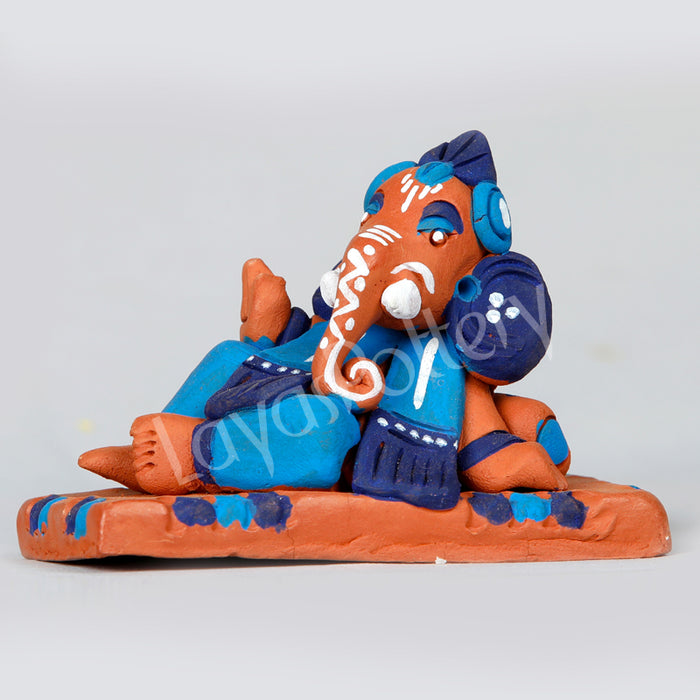 Clay Resting Ganesha Blue