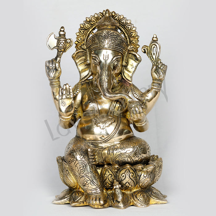 "Brass Ganesha seated on blossomed Lotus 11"" Tall"