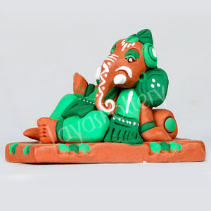 Clay Resting Ganesha Green
