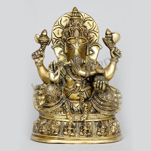 "Brass Ganesha seated on Ganesha Pedestal 9"" Tall"