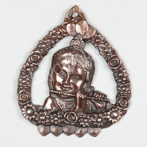 Black Metal Krishna Plate Wall Hanging
