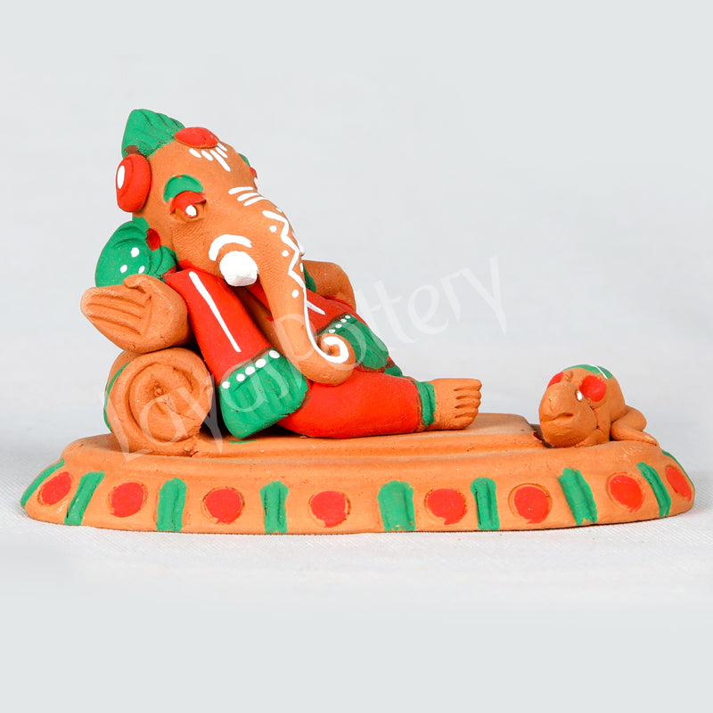 Clay Resting Ganesha With Mouse Orange Green