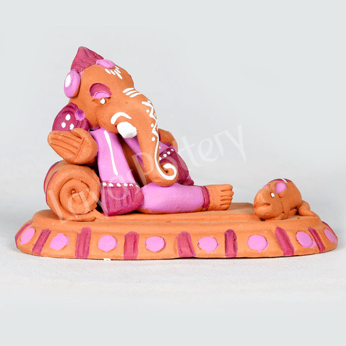 Clay Resting Ganesha With Mouse Pink