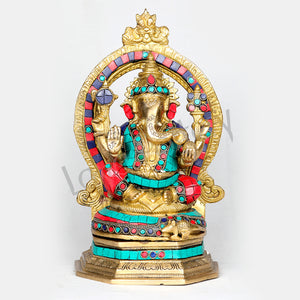 "Large Brass Ganesha seated on pedestal decorated with multicolored stones 11.50"" Tall"