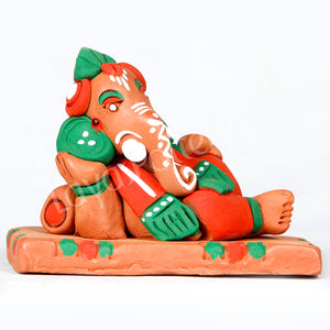 Clay Sofa Ganesha Orange Green