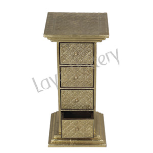 Wooden Gold Foil 4 Drawer stand Ht 38