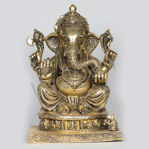 Brass Ganesh seated on Ganesh Etched pedestal