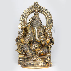 Brass Ganapathy Sitting posture with arch