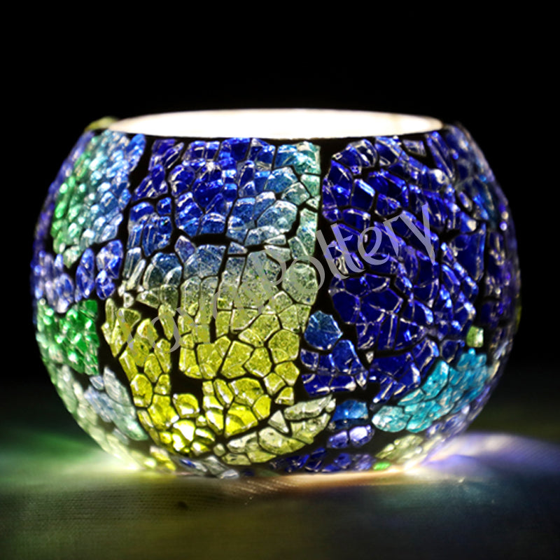 Green And Blue Tea Light Holder