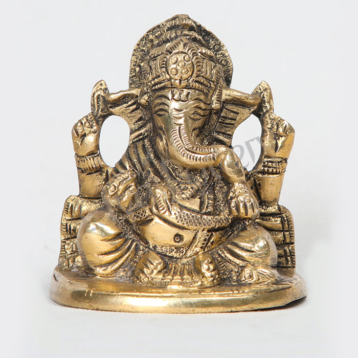 "Brass Ganapathy sitting idol 2.5"" Tall"