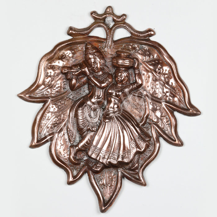 Black Metal Leaf Radha Krishna Wall Hanging