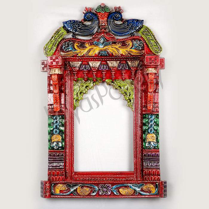 Wooden Jharokha Stand blue peacock Ht 35