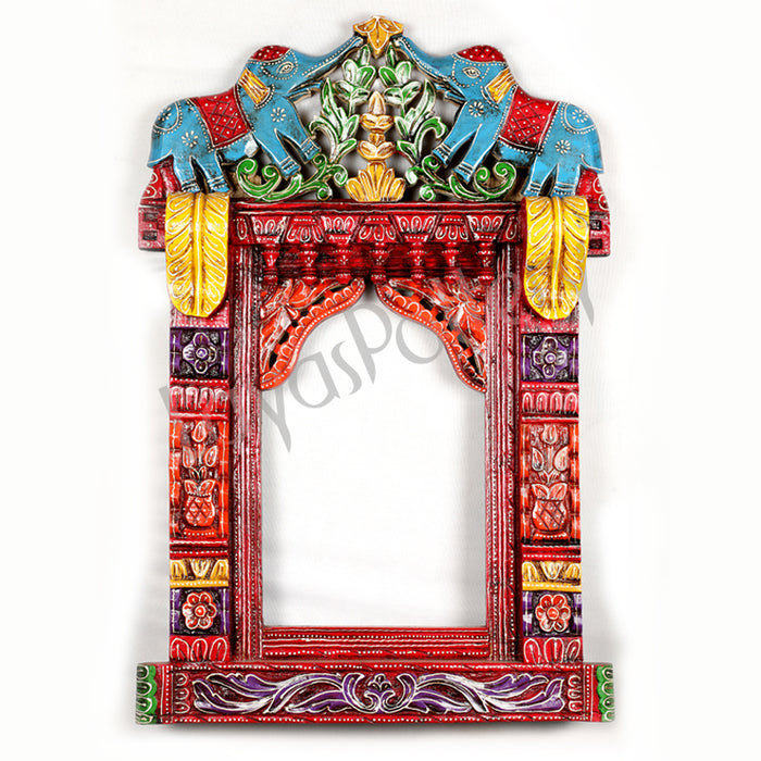 Wooden Jharokha Stand blue elephant Ht 35