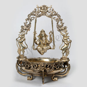 Brass Jhula Ganesha on swing  Uruli