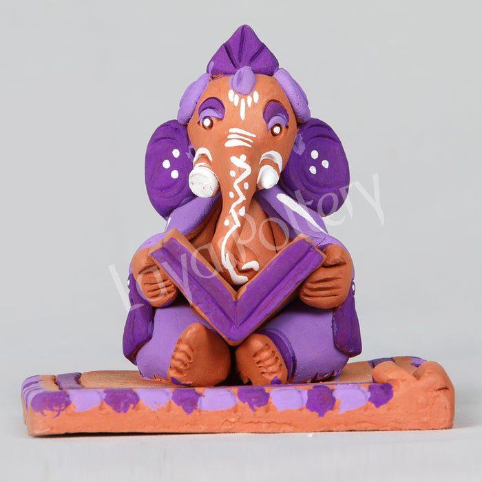 Clay Reading Ganesha Violet