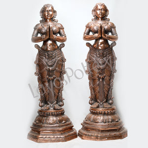 Black Metal Pavai Villakku Pair Statues Large