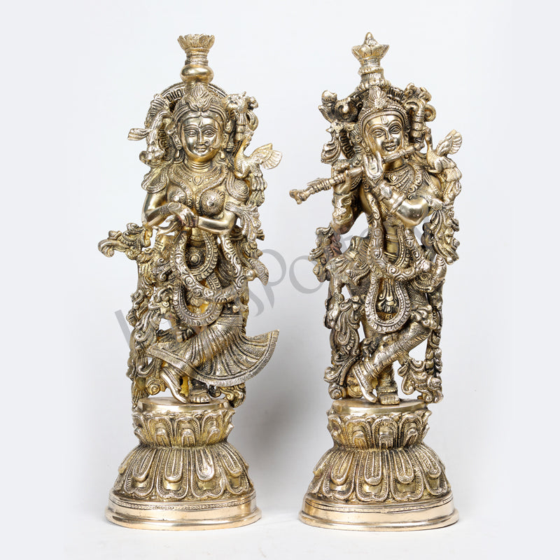 Brass Radha Krishna pair statue sculpture small