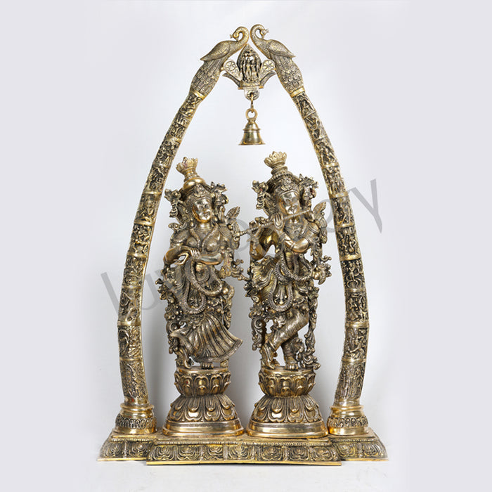 Brass Temple Radha Krishna with peacock Arch showing Krishna Leela