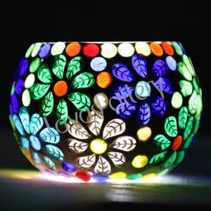Flower Mosaic and glass Design Tea Light Holder