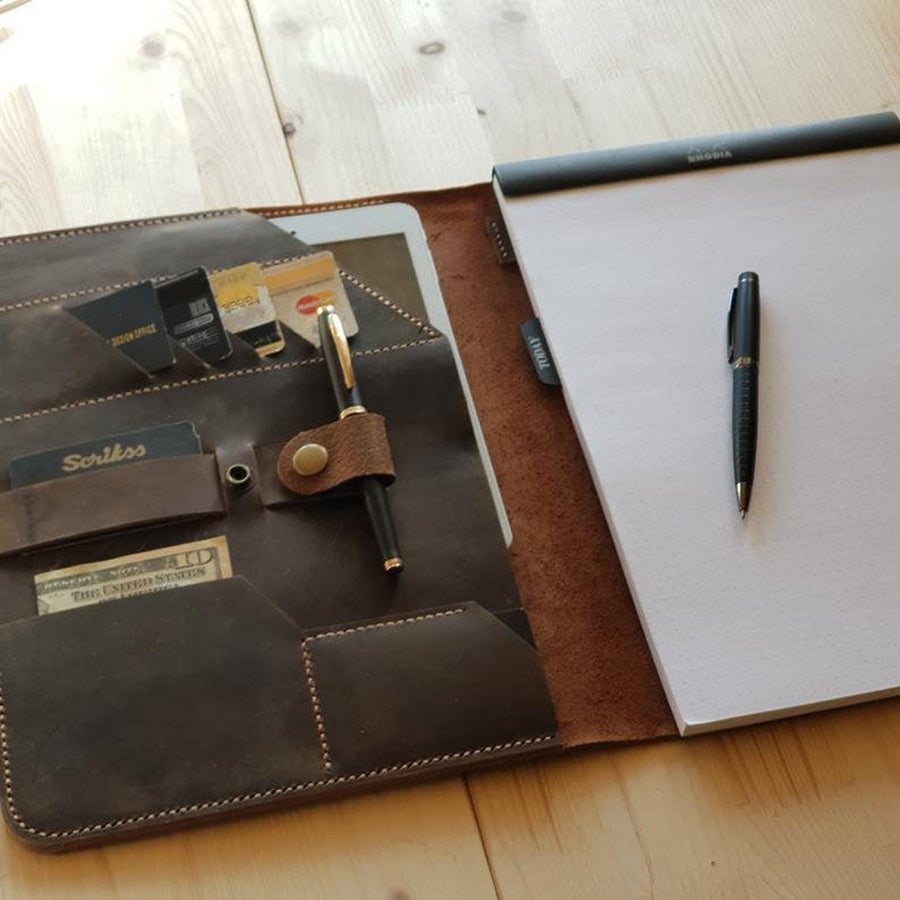 Leather Business Portfolio, Leather Padfolio Business Organizer, Leather 8.5 x 11.75 letter size Business Portfolio, Leather Portfolio