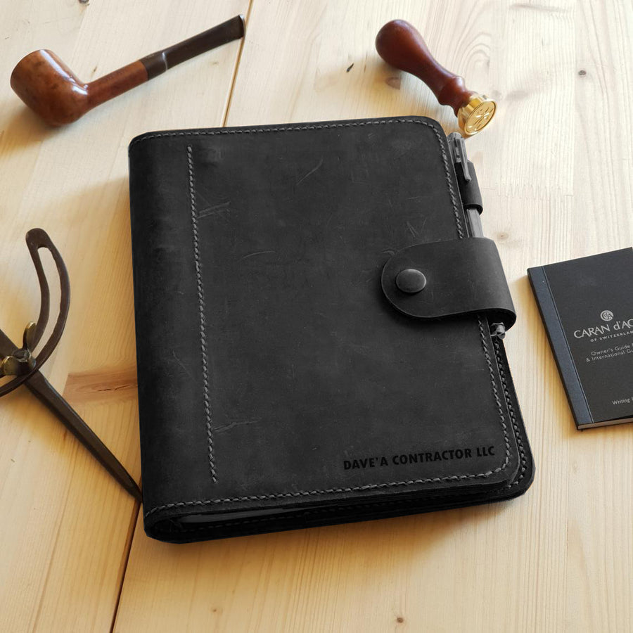 Black Leather Notebook, Men Leather Notebook, Black Leather Planner, A5 6 ring Planner Black Leather, Leather Black Notebook A5, Refillable