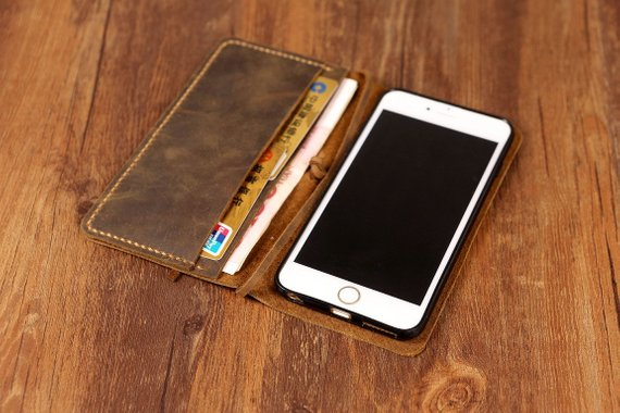 Personalized Vintage distressed genuine real leather iPhone 6s Case / Iphone 6s wallet cover / iPhone 6s Plus Wallet case - Vintage Leather Co