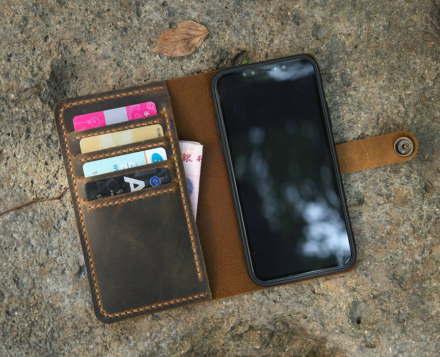 Personalized Distressed Leather Wristlet iPhone X Wallet Case / Retro raw leather iPhone X wallet case cover - Vintage Leather Co