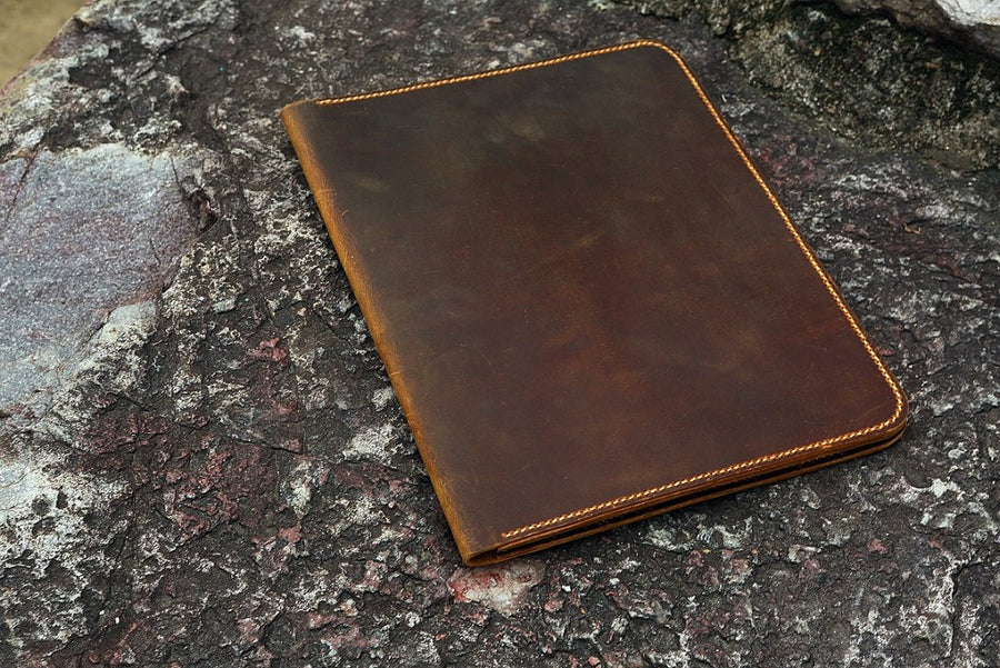 Distressed Leather large legal pad document portfolio writing case / vintage refillable leather organizer notebook cover case - Vintage Leather Co