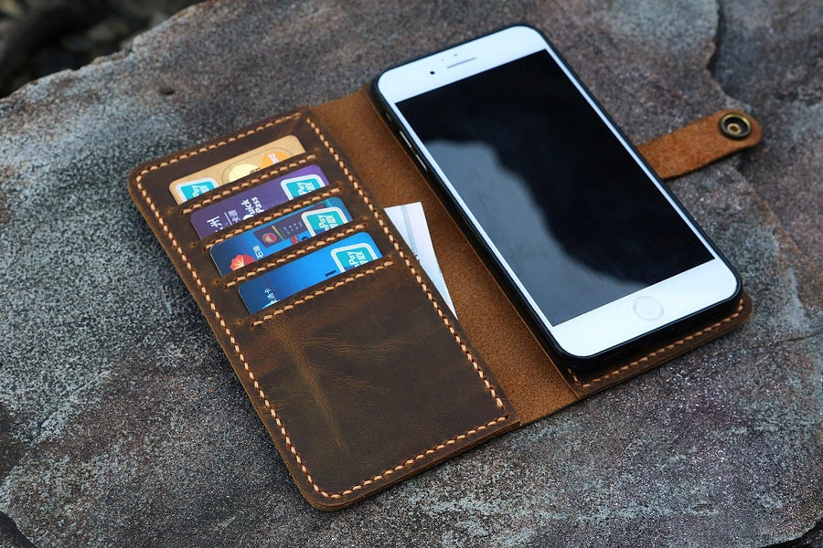 Personalized removable magnetic distressed leather iPhone wallet cover magnet case for all iPhone Models - Vintage Leather Co