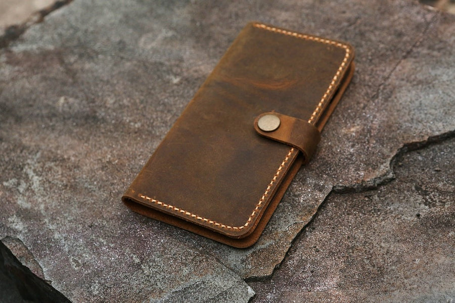 Personalized leather phone wallet for iPhone XS XR distressed leather iPhone XS Max wallet case cover - Vintage Leather Co