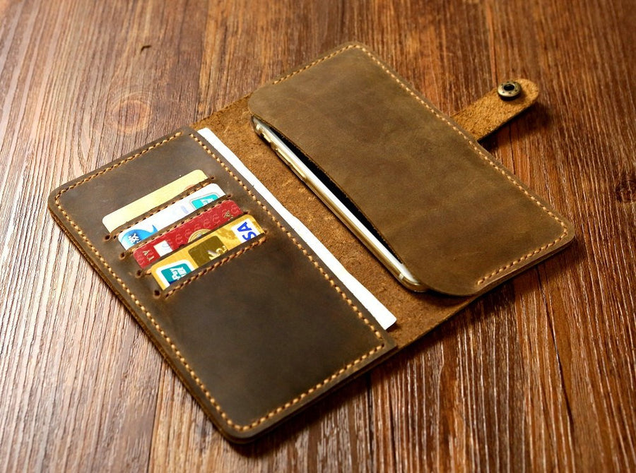 Personalized Brown Distressed Leather iPhone 6 / iPhone 7 / iPhone 7 plus wallet case with snap / leather phone wallet - Vintage Leather Co
