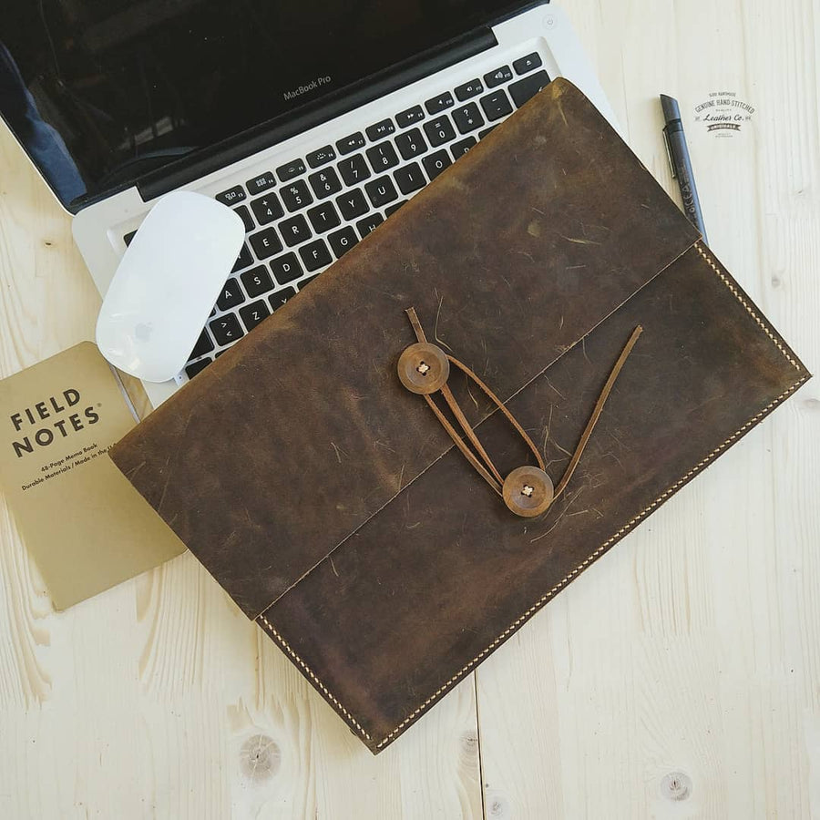 Vintage Distressed Genuine Leather Macbook Sleeve Case for New Macbook