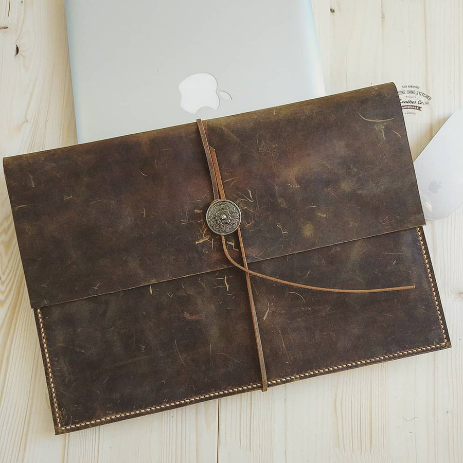 Vintage Brown Leather MacBook Sleeve , MacBook Pro Case