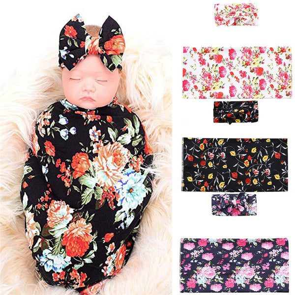 2Pcs Baby Swaddle Floral Print Sleeping Blanket