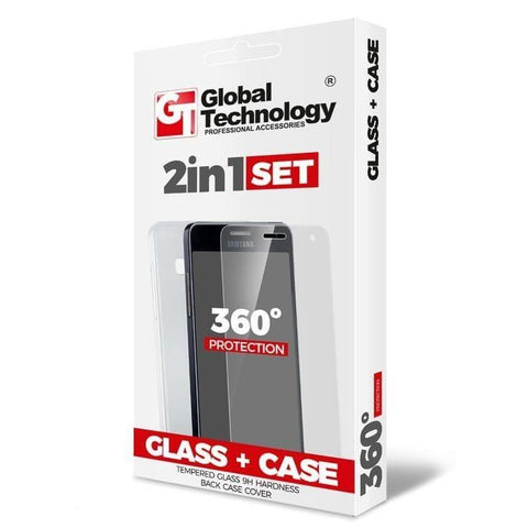 Set 2IN1, Husa si folie sticla, Global Technology 360 Protection, Samsung A7,Transparent