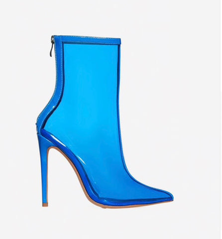Sky blue- Transparent Boots - saucedoutfittersnyc