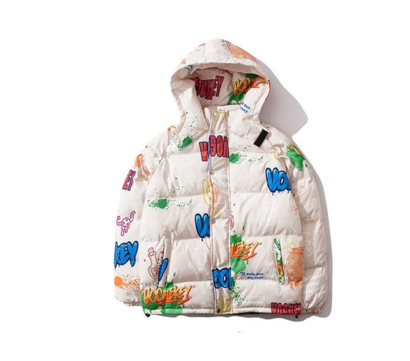 SAUCED. Unisex Graffiti Puffer With Hood - SAUCED