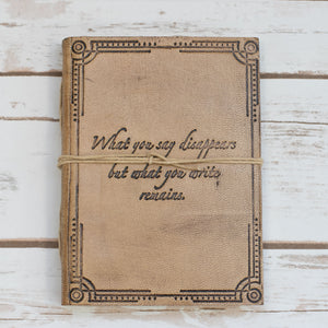 """What You Write"" Quote Embossed Tan Leather Journal - Glitzy Swan"