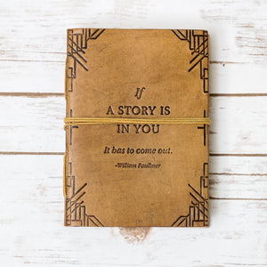 """If a Story"" Handmade Blonde Leather Journal - Glitzy Swan"