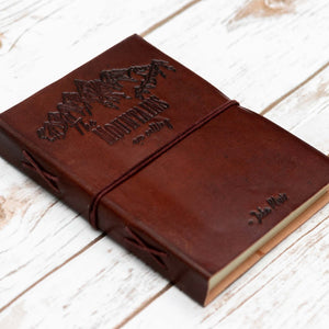 """The Mountains Are Calling"" Handmade Leather Journal - Glitzy Swan"