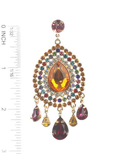 Earring Crystal Stone Post Multi-color