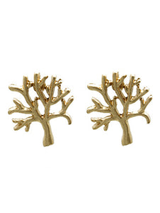 Earring Matte Finish Metal Tree Of Life Gold