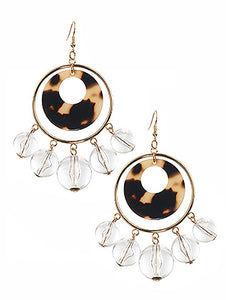 Earring Clear Ball Charm Acrylic Ring Brown