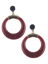 Load image into Gallery viewer, Earring Natural Stone Finish Ring Dangle