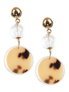 Earring Round Acrylic Charm Layered Dangle Brown