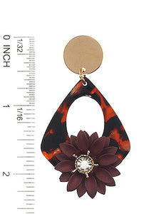 Earring Epoxy Coated Metal Flower Charm Ring Brown