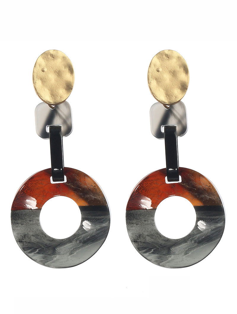 Earring Tortoise Shell Finish Acrylic Dangle Gray