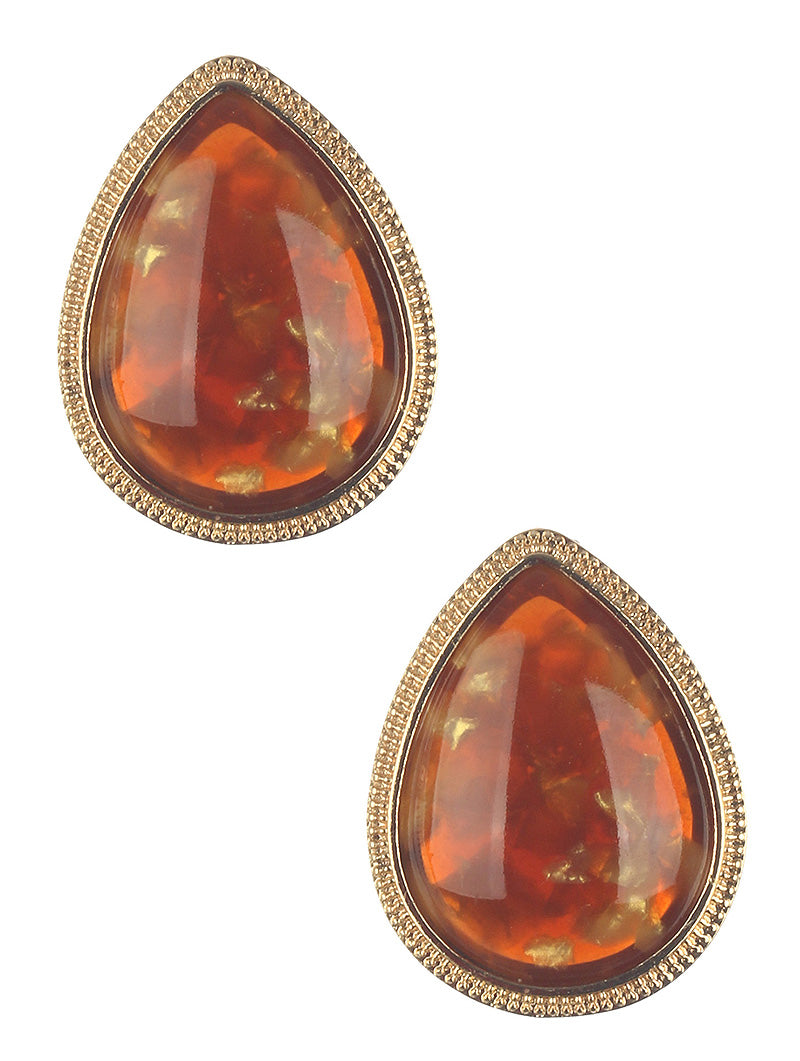 Earring Natural Stone Finish Teardrop Brown